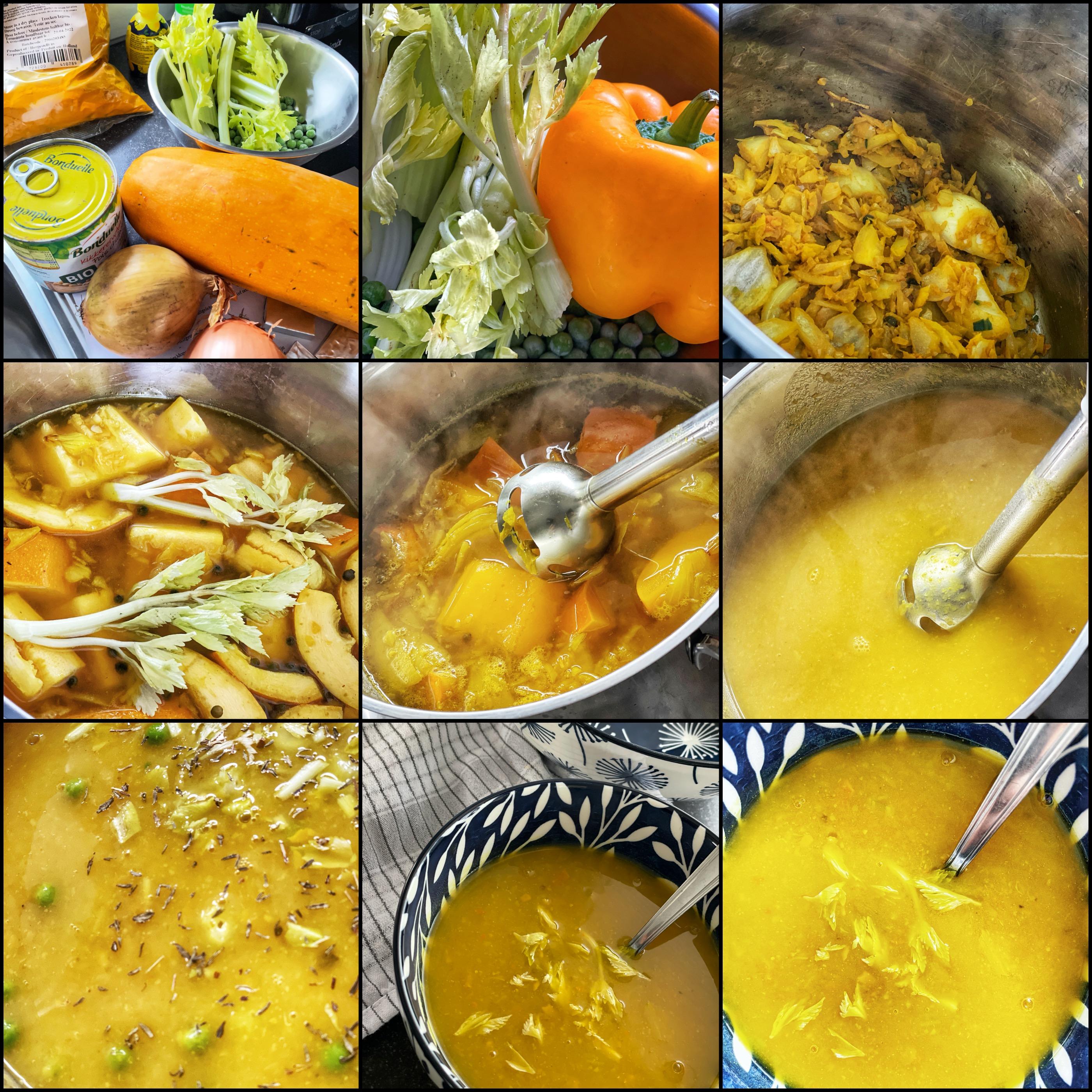 Vrolijke kikkererwten-mimosasoep